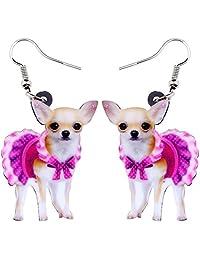 NEWEI Acrylic Drop Dangle Sweet Chihuahua Earrings Fashion Animal Jewelry For Girl Women Gift Charms