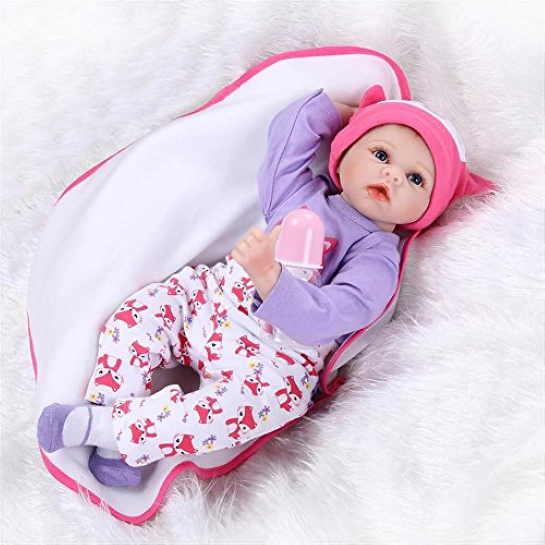 SanyDoll Rebornベビー人形ソフトSiliconeビニール22インチ55 cm Lovely Lifelikeキュート赤ちゃん男の子女の子おもちゃPrettyパープルドレス人形