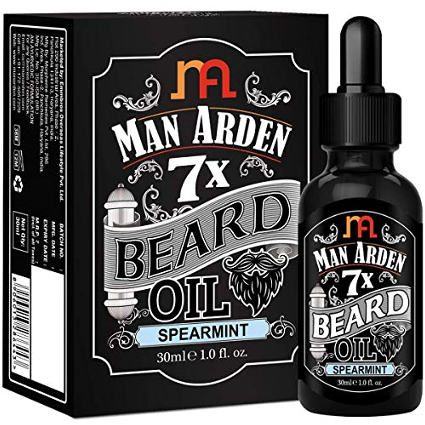 組発表発行するMan Arden 7X Beard Oil 30ml (Spearmint) - 7 Premium Oils For Beard Growth & Nourishment