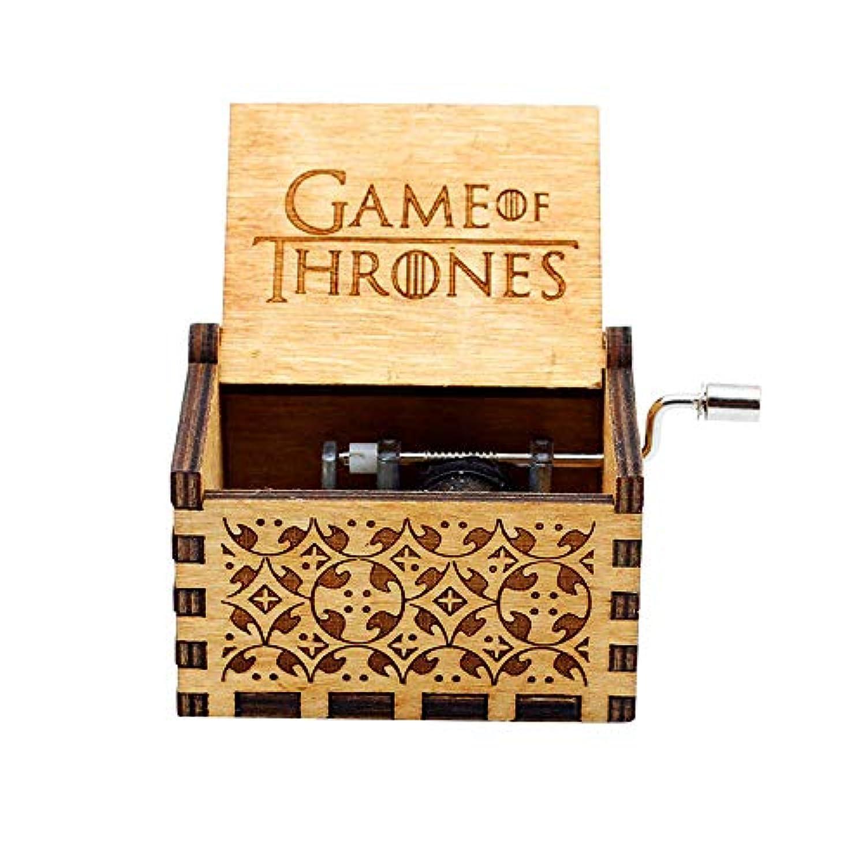LA-PIN 木製オルゴール、アンティーク彫刻木製オルゴール 手回しのオルゴール - ゲーム?オブ?スローンズ メインテーマ