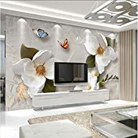 Lcymt カスタム3D壁壁画壁紙ヨーロッパスタイルレトロフラワーバタフライデスクトップの壁紙用リビングルームテレビ背景壁壁画-350X250Cm