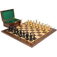 Yugoslavia Stauntonチェスセットエボニー&でBoxwood with Macassar Ebonyボード&ボックス – 87