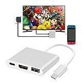 Type-C to HDMI 変換 アダプター GOOJODOQ 軽量 薄型 スイッチ ドック HDMI 充電 発熱対策 対応 変換 コンバーター 任天堂ゲーム用 (シルバー)
