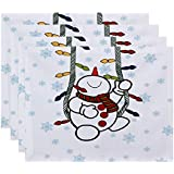 E by design Jump For Joy冬Whimsy幾何印刷プレースマット – 4のセット 1 レッド PT4HGN690WH1RE3