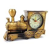 メタリック風 機関車 デザイン 目覚まし時計 ゴールド