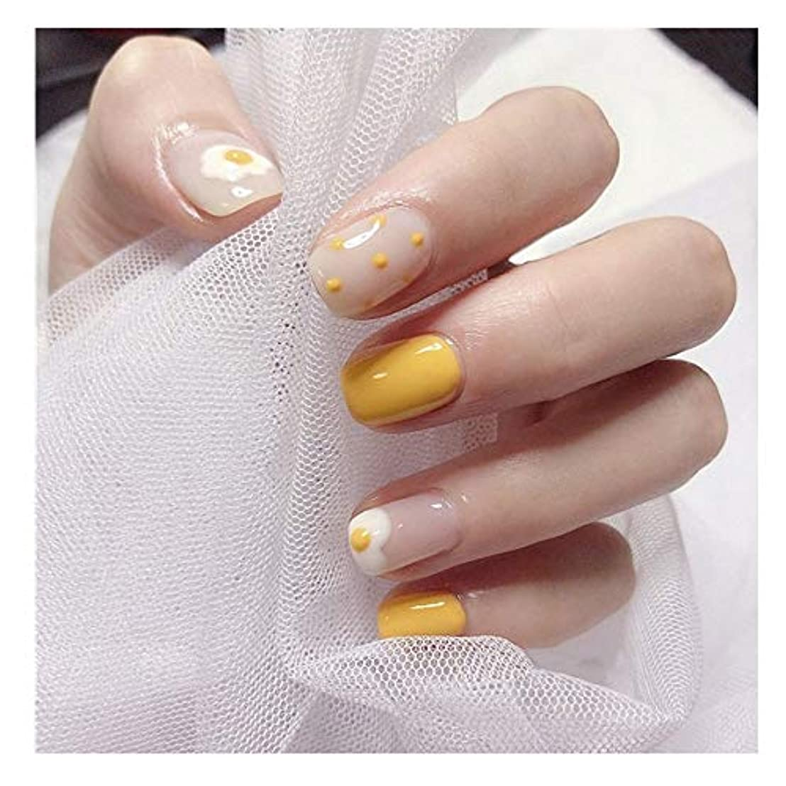 その後鳥一握りTAALESET 黄色の卵偽の釘のショートスクエアネイルグルー完成ネイルアートフェイクネイルズ (色 : 24 pieces)