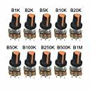 mclglcm WH148 ポテンショメーター 可変抵抗 10K 20K 100K 1K 2K 5K 500K 10種類各1個 15mm 10個入り 3ピン 抵抗キット