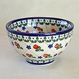 ポーランド食器 ポーリッシュポタリー ボレスワヴィエツ陶器 Boleslawiec ボウル 13.5cm デザートボウル シリアルボウル 小どんぶり 茶碗 バラの花柄 315-063R