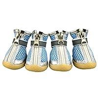 Etopfashion ベルベット製 ドッグブーツ 犬用 シューズ 雨の日 ペット用 靴 ジッパー付き ペット用靴 保暖 滑り止め 肉球保護 柔らかい 軽い ドッグシューズ 1袋4個入 3色5サイズ選べる