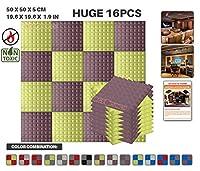 エースパンチ 新しい 16ピースセットブルゴーニュと黄 500 x 500 x 50 mm ピラミッド 東京防音 ポリウレタン 吸音材 アコースティックフォーム AP1034