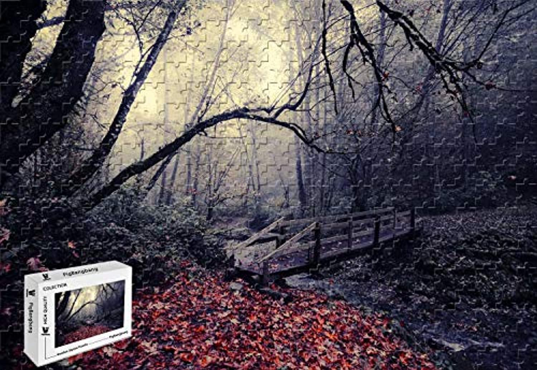 PigBangbang、20.6 X 15.1インチ、ステンドアートパズル 子供用 大人用 ジグソーグルー 木製 - 秋の橋 木 ストリーム - 500ピース ジグソーパズル