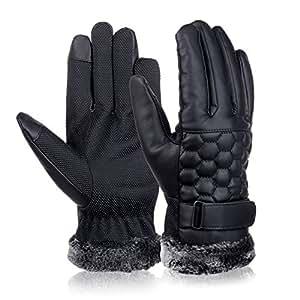 VBIGER メンズ レザー手袋 バイク用グローブ 革 滑り止め スマホ対応 ファー付き 裏起毛 防寒 耐磨 男性用 冬 ライダース ドライブ アウトドア(ブラック1)
