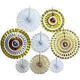 IPALMAY シルバー ゴールド ペーパーファン 多種類模様 吊るすもの 紙製 飾り物 室内 パーティー 日常生活 8個セット