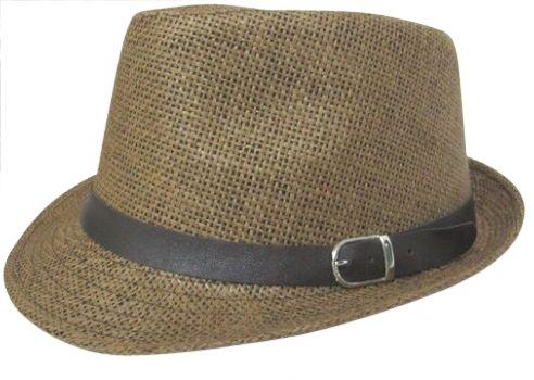 【帽子】中折れハット 中折れ帽子 ベルトテープ ストローハット 春夏  ユニセックス 男女兼用 /A67-9 (ブラウン)
