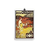 ヴィンテージポスター–American Crescentサイクル–プレミアム光沢フォト用紙ポスター 12x18