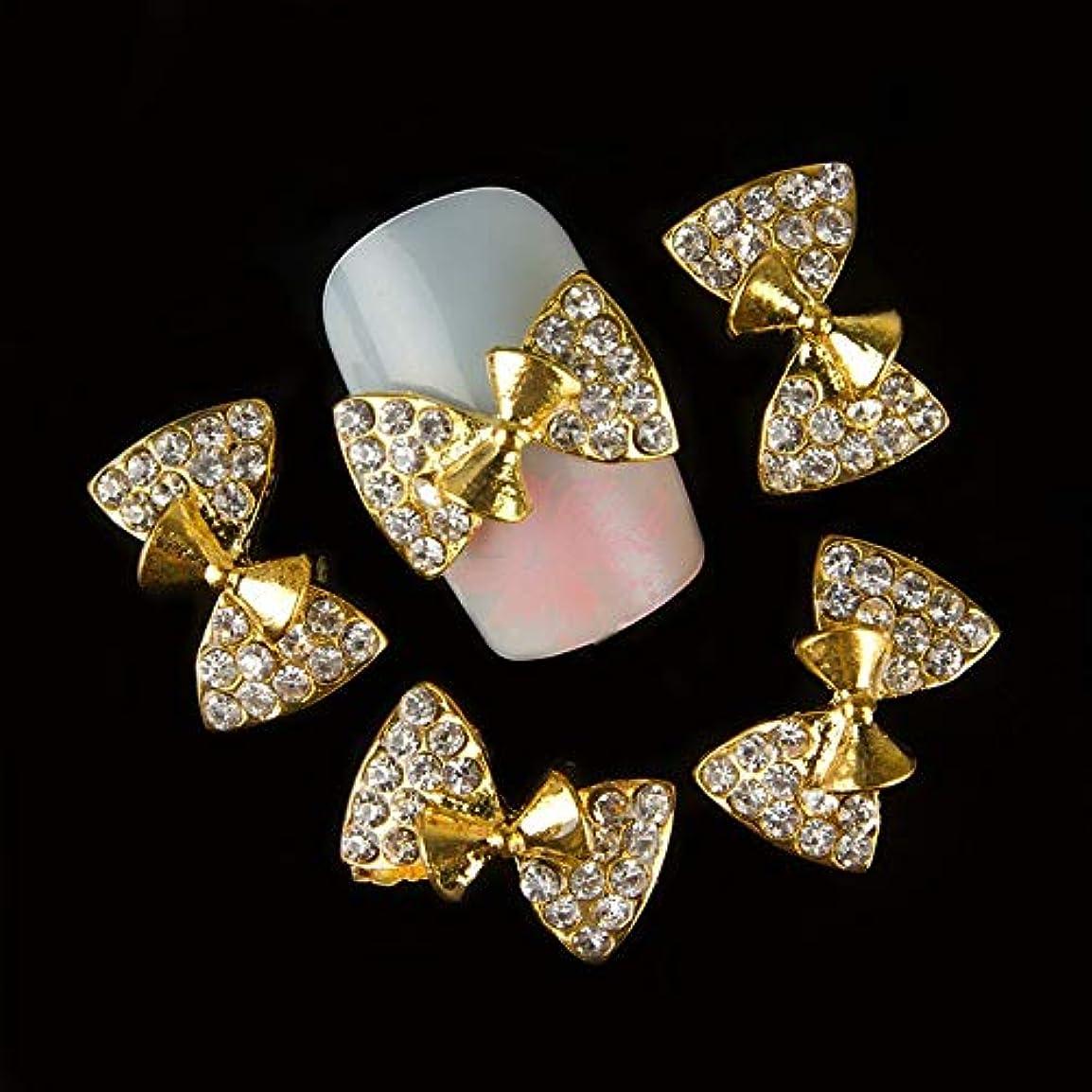 フォアマンモットーの中で10個入りの3Dゴールドネイル合金デコレーションボウデザイングリッターラインストーンネイルアートのヒントステッカー