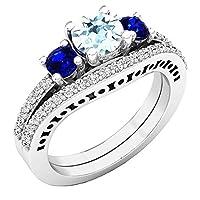 18K ホワイトゴールド 5.5mm ラウンド アクアマリン ブルーサファイア & ダイヤモンド 婚約指輪セット (サイズ4)