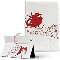 igcase d-01J dtab Compact Huawei ファーウェイ タブレット 手帳型 タブレットケース タブレットカバー カバー レザー ケース 手帳タイプ フリップ ダイアリー 二つ折り 直接貼り付けタイプ 005496 その他 サンタ クリスマス