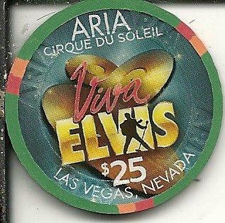$ 25Aria VivaエルヴィスCirque Du Soleilネバダ州ラスベガスカジノチップグリーン