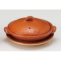 5号赤楽柳川鍋(受皿付) [ 15 x 6.8cm ] 【 土鍋 】 【 料亭 旅館 飲食店 和食器 業務用 】