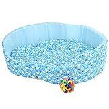 【 全4種類 】 ふわふわ カラフル 犬 猫 用 ベット ソフア クッション / 鈴おもちゃ との2点セット (ブルー)