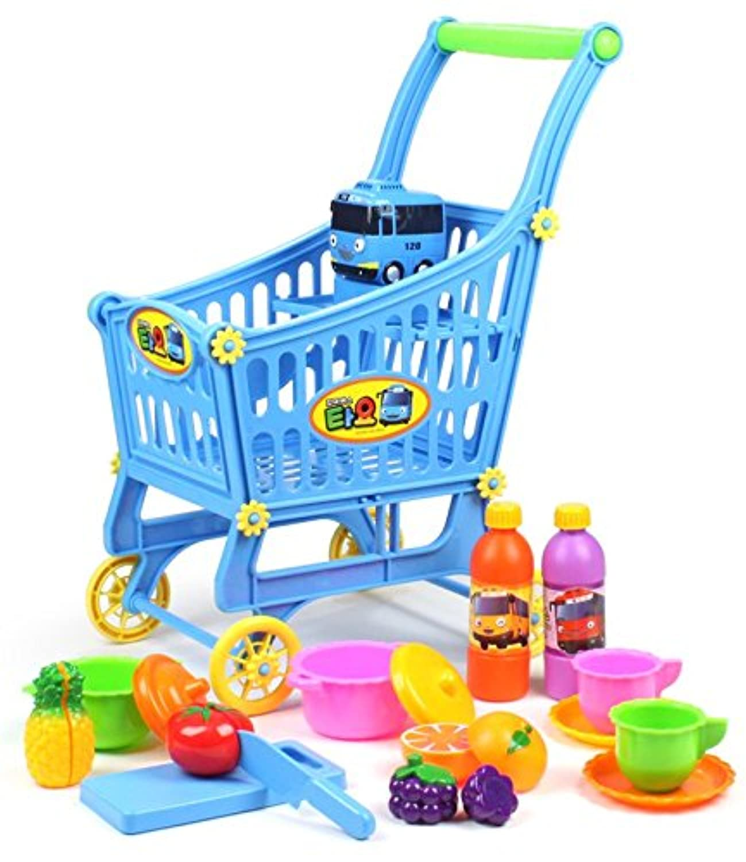 Tayoショッピングカートwith Play Food Handcart /ショッピングストレージトロリーKids Pretend Play Toy