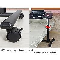 HAUYU テーブル ノートパソコンのローリングカートのテーブルの高さ調節可能なモバイルノートパソコンスタンドデスクオーバーベッドテーブル 耐久性のある (色 : マットブラック まっとぶらっく)