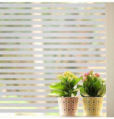 窓 フィルム ストライプ窓 めかくしシート おしゃれ ホワイト 半透明UV 断熱 (005 幅90CM×長さ200CM)