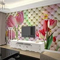 Clhhsy ファッションインテリアフラワーデザイン3D壁画壁紙現代ソフトパックステレオチューリップ写真壁画リビングルームの寝室の装飾-150X120Cm