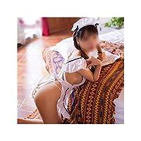 Jiabei 女性のセクシーなかわいいメイドセット透明制服誘惑セクシーなランジェリー (サイズ : ワンサイズ)