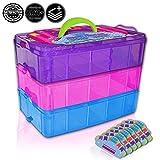 Black & White Label Company - 600個のおもちゃ入れ - 小型のおもちゃ箱 Shopkins 収納ケースオーガナイザーコンテナ - 積み重ね可能なコレクターズトート持ち運びに便利 ミニおもちゃ ツムツムLOL (レインボー)適合