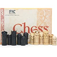 Masked Antiqued Chess Pieces