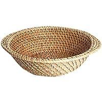 Fortem 果物バスケット 収納バスケット かご パンのバスケット 保管バスケット 手織り 多用途 籐製 シンプル