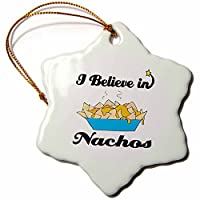 3drose Dooni Designs I Believe In–I Believe In Nachos–Ornaments 3 inch Snowflake Porcelain Ornament orn_105381_1