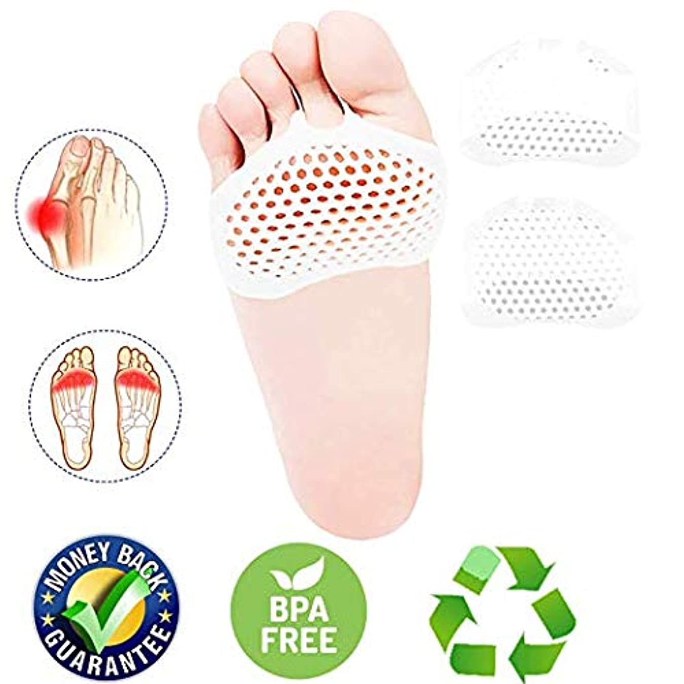 保持するそして横に中足骨パッドフットクッションのボール、つま先セパレーター、つま先セパレーターストレッチャー、ゲルゴムシリコーンsesamoiditisパッド、通気性のある足の痛みを緩和するクッションハンマーまっすぐな腱膜炎の痛みの足