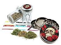 Skull Roses–2.5インチ亜鉛合金グラインダー& 75mlロックトップガラスJarギフトセット# zcc-111616–313