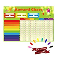 Magnetic Refrigerator Dry Erase Board RewardStarResoposibilityBehavior Chore Chart with 8 free colorful markers for One or Multiple Kids Toddlers or Teens.16 X 13. Flat Pack. [並行輸入品]