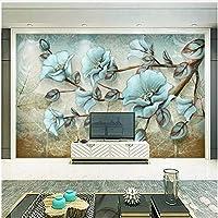 Xbwy 写真の壁紙3D手描きの花の壁画リビングルームテレビのソファの背景壁の絵ヨーロッパスタイルのレトロな壁画の壁紙-400X280Cm