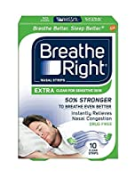 Breathe Right Nasal Strips, Extra Clear for Sensitive Skin 10 ea (Pack of 4) by Breathe Right