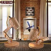 Injuicy照明ロフトヴィンテージ工業テーブルライトエジソンデスクログ木製ランプFold Unfold Cafe