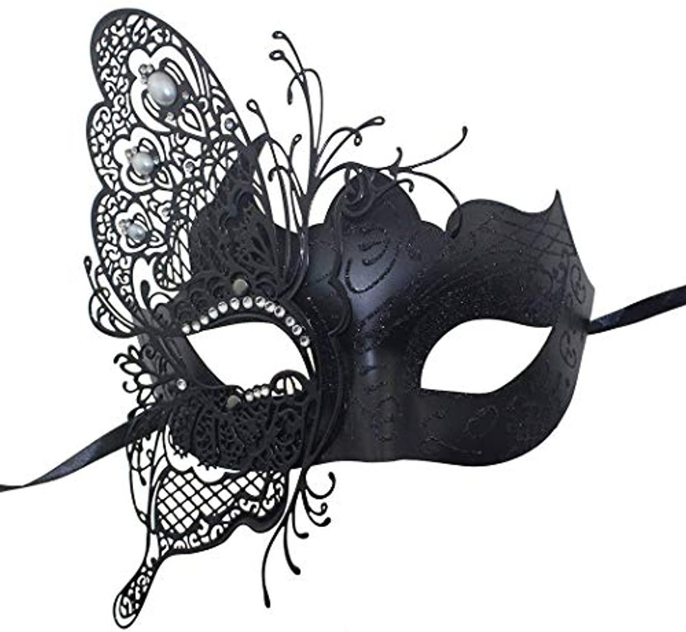 Nanle 神秘的なヴェネツィアの蝶シャイニーバタフライレディマスカレードハロウィンマルディグラパーティーマスク (色 : 黒)