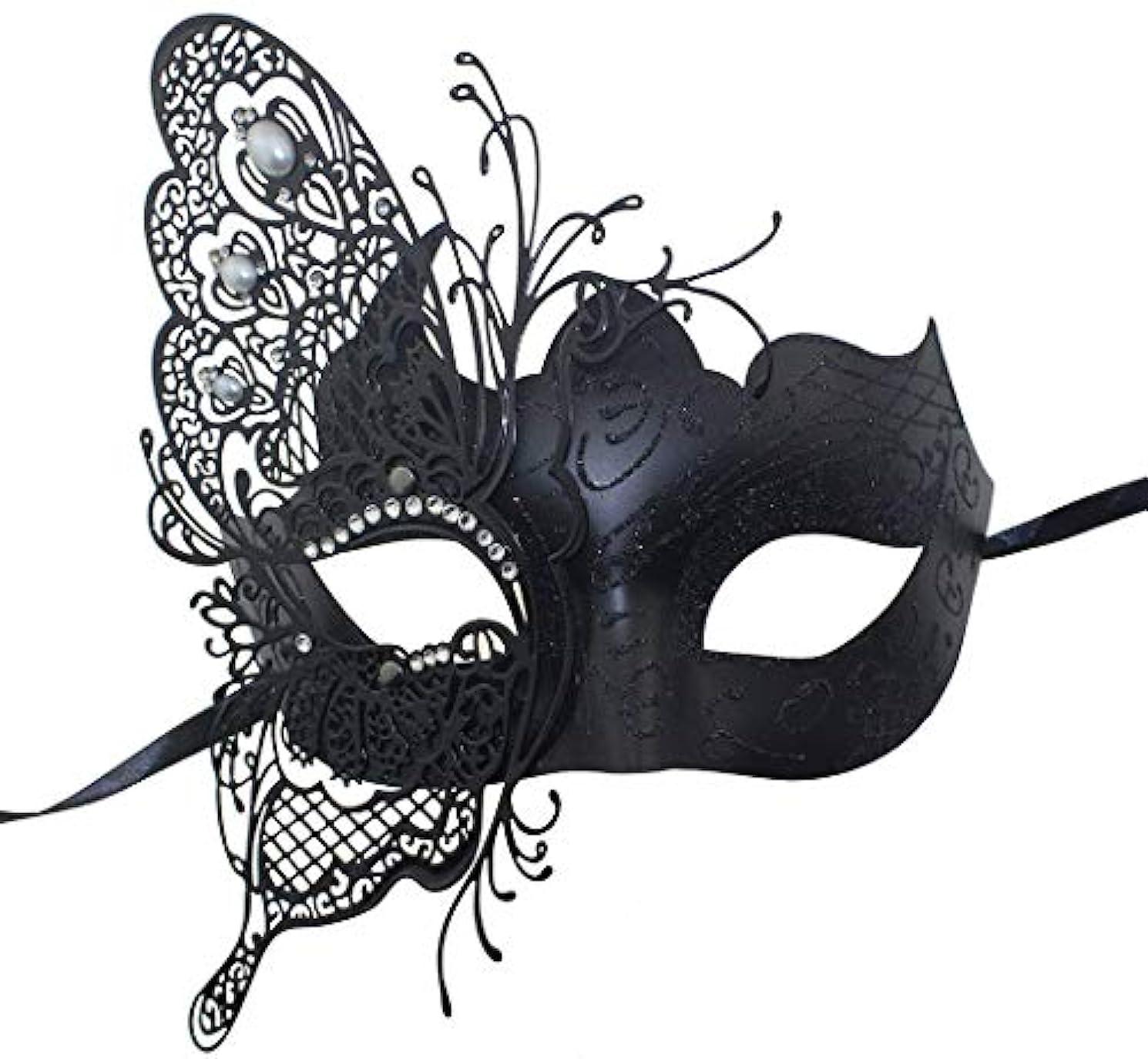 オーチャード砲撃平和なNanle 神秘的なヴェネツィアの蝶シャイニーバタフライレディマスカレードハロウィンマルディグラパーティーマスク (色 : 黒)