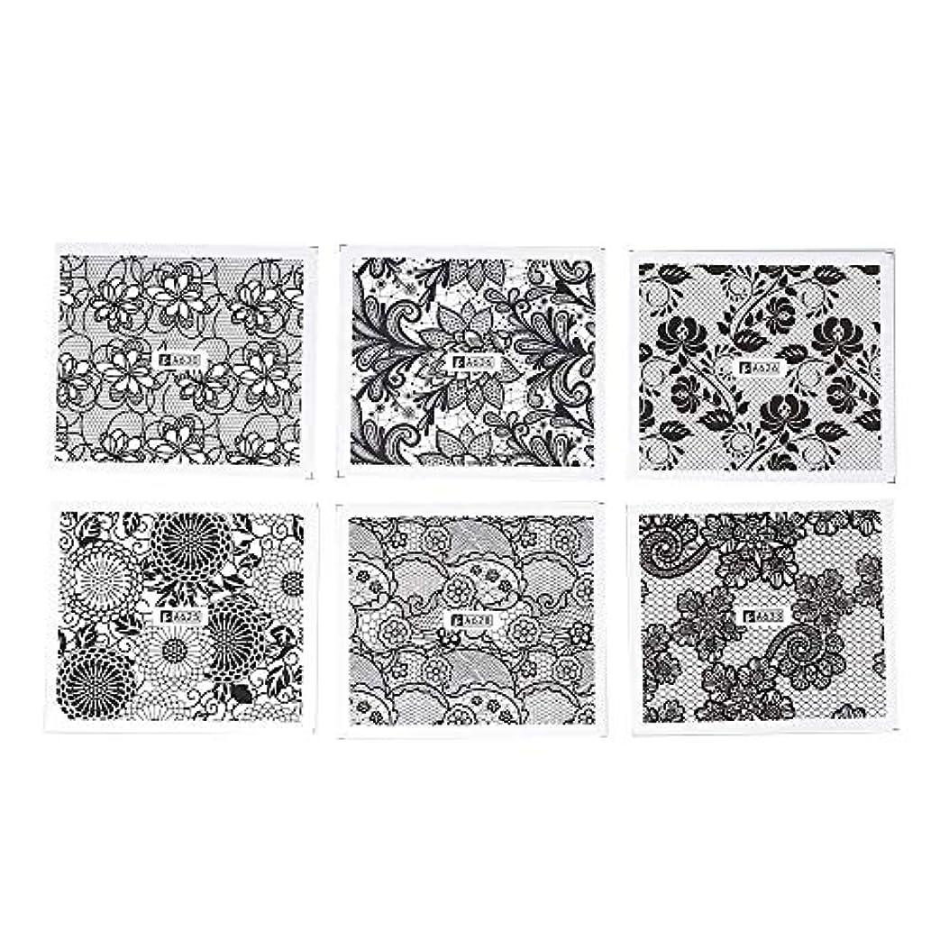 定期的誓約めるネイルデコパーツ ホワイト レース ブラック ネイルホイル ネイル転印シール 混合 花柄 ネイルシール ネイルステッカー ネイルデコ ネイルアート DIY 装飾ツール 24枚セット ネイル デコ用