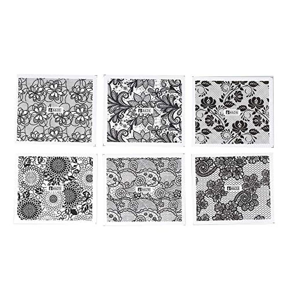 こねる従来のペフホワイト レース ブラック ネイルホイル ネイル転印シール 混合 花柄 ネイルシール ネイルステッカー ネイルデコ ネイルアート DIY 装飾ツール 24枚セット