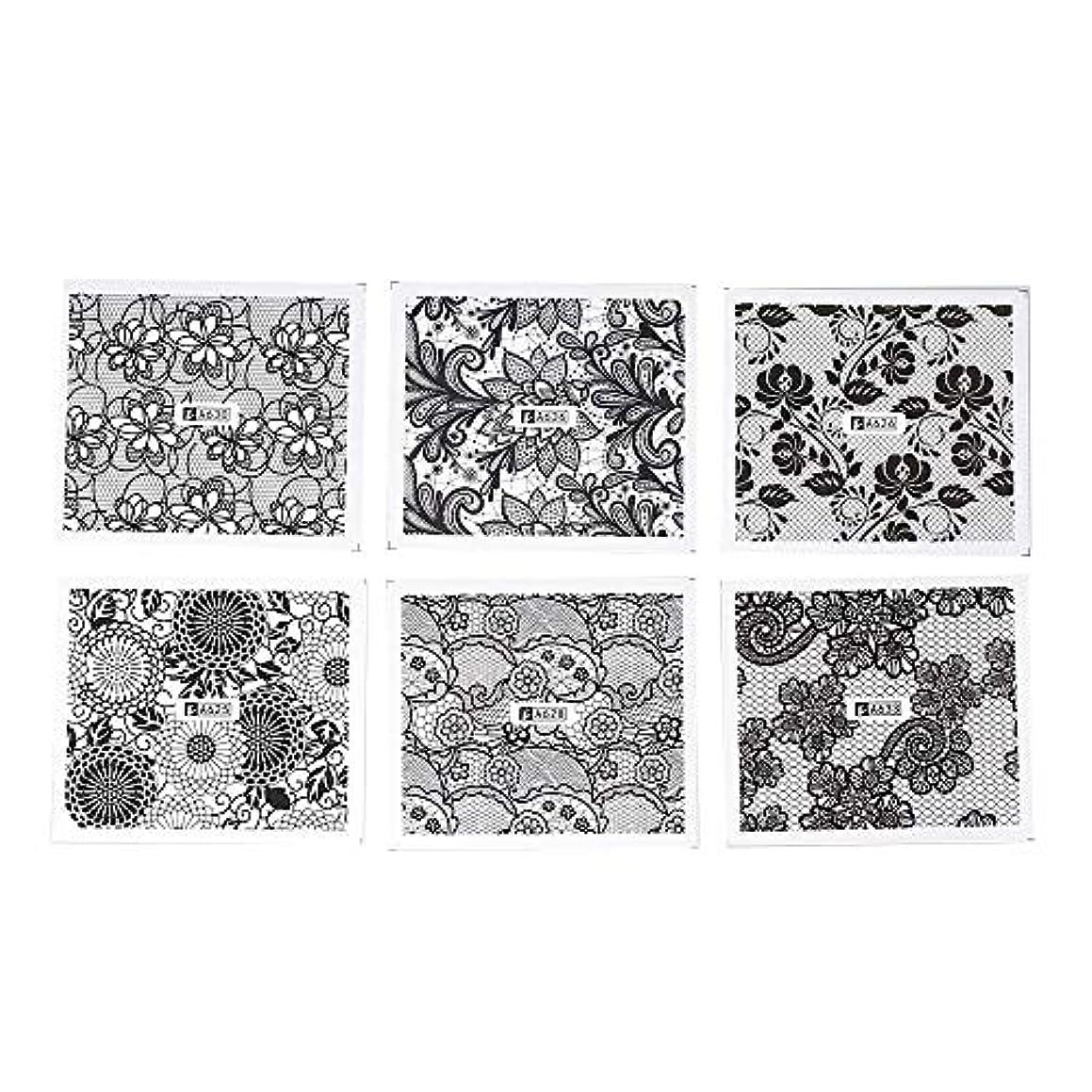 安らぎ不毛ポルティコネイルデコパーツ ホワイト レース ブラック ネイルホイル ネイル転印シール 混合 花柄 ネイルシール ネイルステッカー ネイルデコ ネイルアート DIY 装飾ツール 24枚セット ネイル デコ用