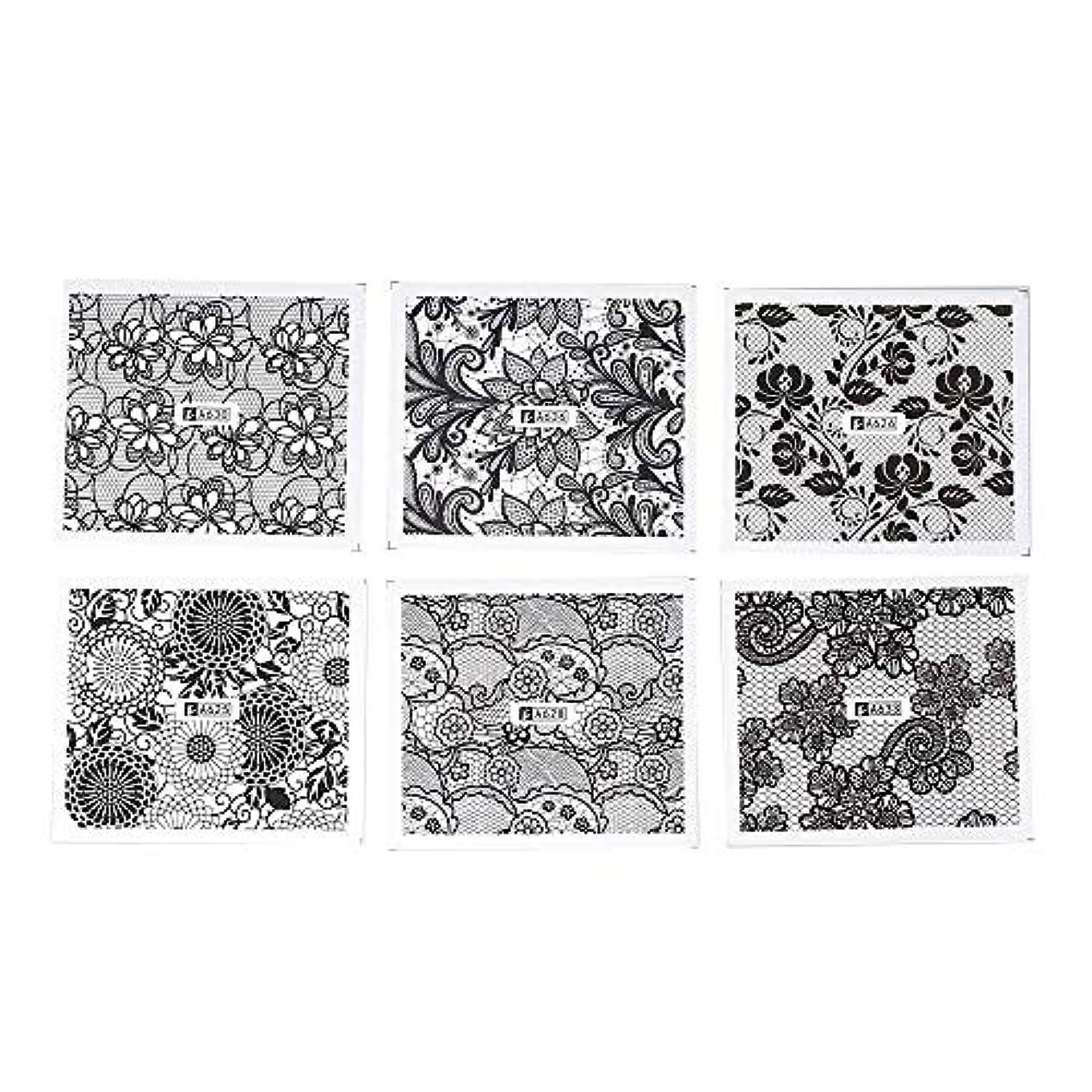 毒液残忍な掃くホワイト レース ブラック ネイルホイル ネイル転印シール 混合 花柄 ネイルシール ネイルステッカー ネイルデコ ネイルアート DIY 装飾ツール 24枚セット