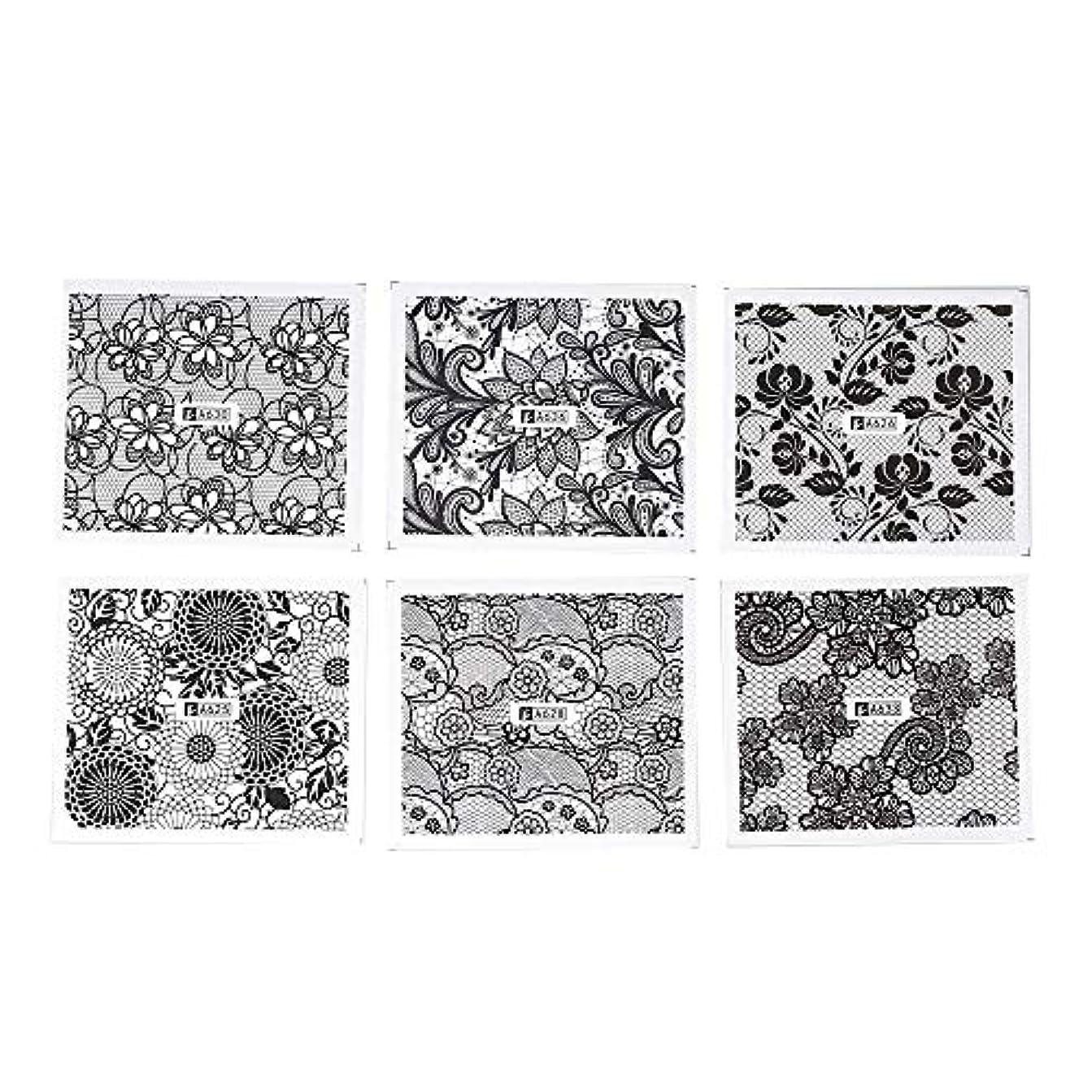 悲しいことに登るアリスホワイト レース ブラック ネイルホイル ネイル転印シール 混合 花柄 ネイルシール ネイルステッカー ネイルデコ ネイルアート DIY 装飾ツール 24枚セット