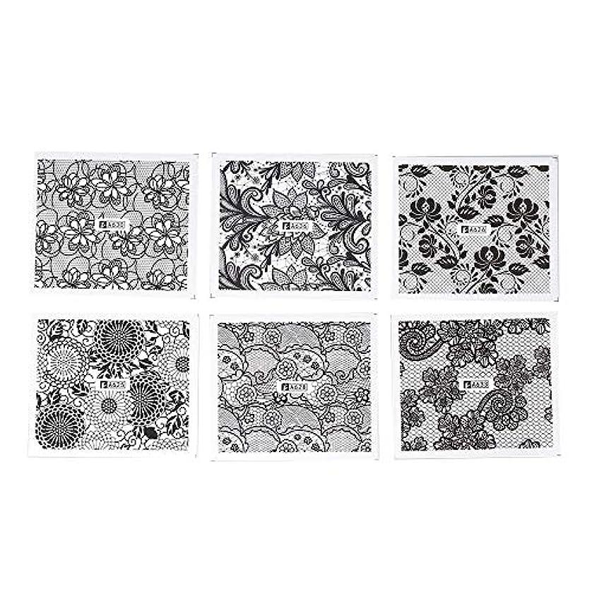 メッシュ私植物学者ネイルパーツ ホワイト レース ブラック ネイルホイル ネイル転印シール 混合 花柄 ネイルシール ネイルステッカー ネイルデコ ネイルアート DIY 装飾ツール 24枚セット ハンドメイド材料