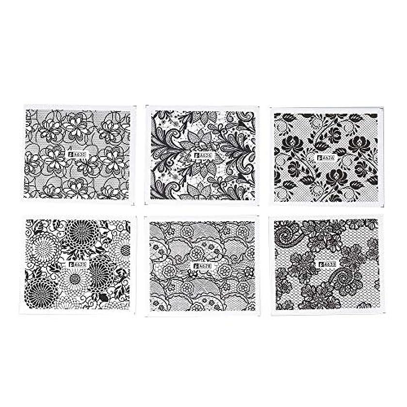 欺く聴覚優れましたネイルパーツ ホワイト レース ブラック ネイルホイル ネイル転印シール 混合 花柄 ネイルシール ネイルステッカー ネイルデコ ネイルアート DIY 装飾ツール 24枚セット ハンドメイド材料