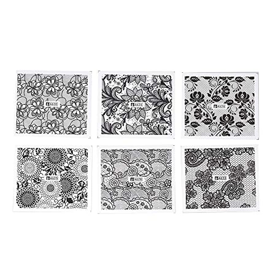 近代化衣服パットホワイト レース ブラック ネイルホイル ネイル転印シール 混合 花柄 ネイルシール ネイルステッカー ネイルデコ ネイルアート DIY 装飾ツール 24枚セット
